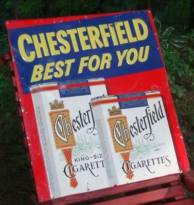 """VTG Embossed CHESTERFIELD CIGARETTE Tin Metal Sign 24""""x22"""" Tobacco Advertising"""