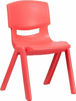 Flash Furniture YU-YCX-005-RED-GG Red Plastic Stackable School Chair with Seat