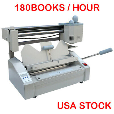 Perfect A4 Book Binding Machine Hot Glue Book Paper Binder Puncher LCD US STOCK
