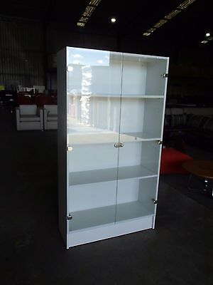 Office/Home Display Cabinet/Bookcase 3-Shelves Glass Door White Melamine 34209