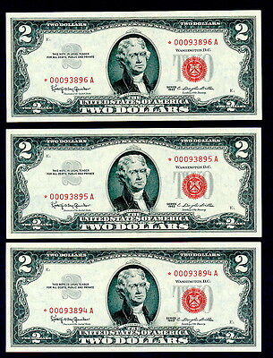 1963 $2 Two Dollar  Bill Red Seal Legal Tender  Stars  Uncirculated Consecutive