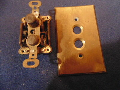 Antique Bakelite Push Button Light Switch,+Brass Cover Plate.