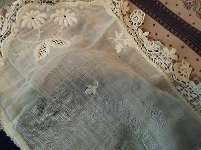 Antique Hand Made Embroidered flowers with Floral edge