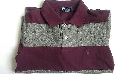 Polo by Ralph Lauren Boys Size 6 Burgundy And Gray Striped Long Sleeve Shirt