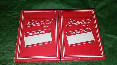 Two Sealed Decks Of Budweiser Beer Playing Cards