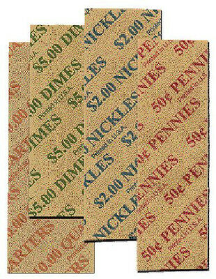 Mixed 1c - 25c Flat Coin Wrappers - 160 Pack
