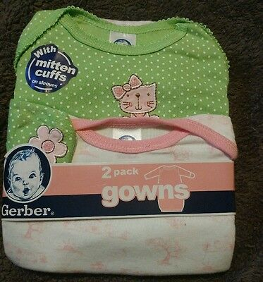 Gerber Baby Night Gowns 2 pack 0-6 mo with Mitten Cuffs Green Pink Kittens New