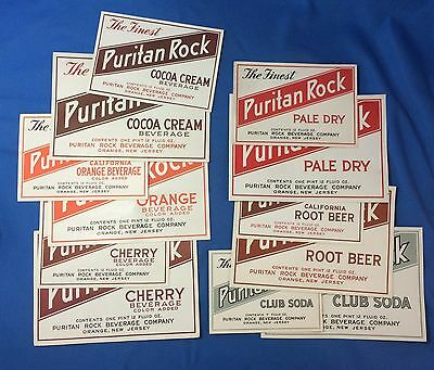 12 c 1940 PURITAN ROCK Root Beer COCOA CREAM Cherry Soda Bottle Label ORANGE NJ