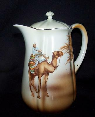 Antique German Teapot With  Desert Scene Hand Painted Camel Rare