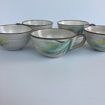 Vintage Fancrest-Ware Mugi Autumn Wheat Cups (5) and Saucers (8) Japan