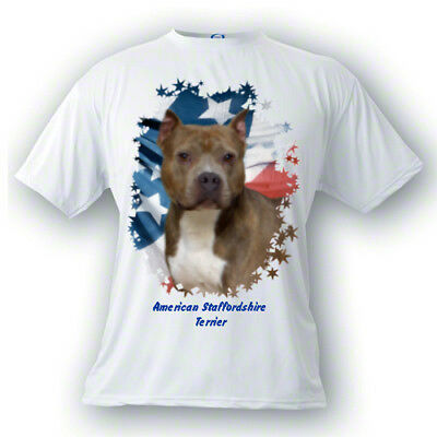 American Staffordshire Terrier  brindle  PERSONALIZED  Stars & Stripes T shirt