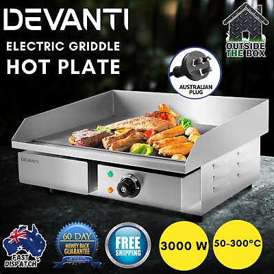Commercial Electric Griddle Hot Plate 55cm Countertop Grill BBQ CE Certified New