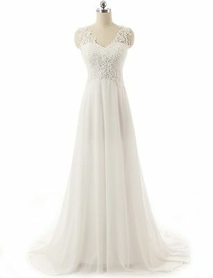 Fancy White/Ivory Formal Bridal Gown Chiffon Lace Beach Wedding Dresses New