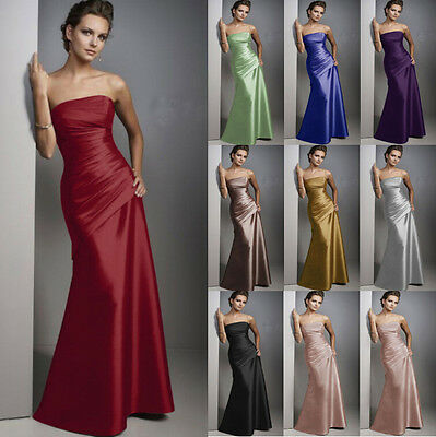 Long Satin Formal Evening Ball Gown Party Prom Bridesmaid Dress Size 6-22 New