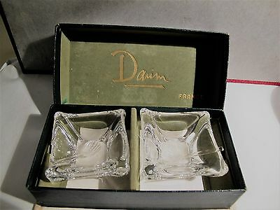 French Daum Nancy Heavy Crystal Salt And Pepper Dishes With Spoons .