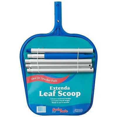 Swimsafe EXTENDA LEAF SCOOP 1.6m Length, 1.2m Sectioned Handle, Extendable Scoop