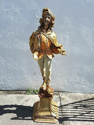 Vintage Large Hand Carved Italian Wood Statue Of A Troubadour Like A Blackamoor