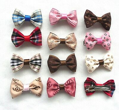 Pair of Bows Clips Hair Grooming Dog Puppy Pet Cat Fashion Present Accesories