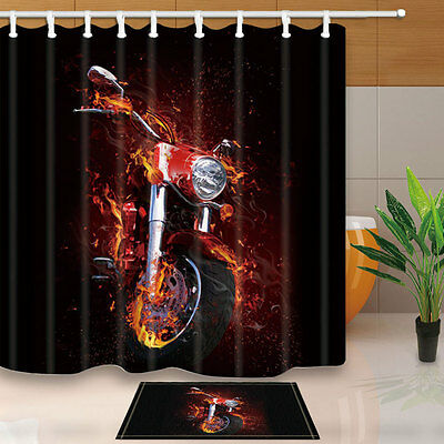 Creative Motorcycle Shower Curtain Bedroom Waterproof Fabric 12hooks 7171in