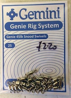 Gemini Rig System - Genie 45lb Snood Swivels - 25's