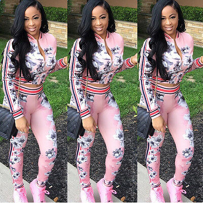 2pcs Women Tops+Pants Casual Hoodie Tracksuits Set Pink Fashion Sweashirts Suit