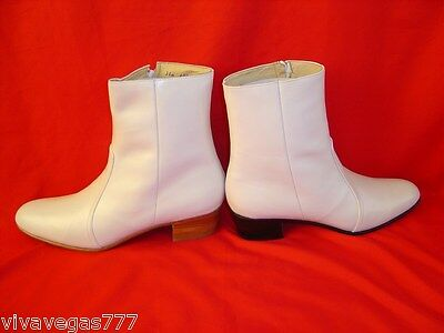 NEW Elvis WHITE 100% Leather Zip-Up Boots (Tribute Artist Costume) Jumpsuit Era