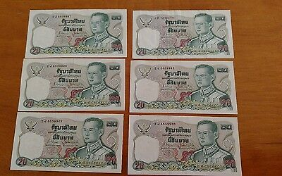 Thailand 20 Baht lot Currency Banknote paper currency