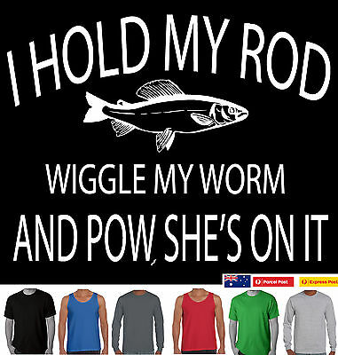 Funny T-Shirt I hold my rod Fishing fish Dad uncle present Men's Aussie Store