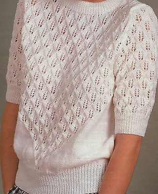 Vintage Knitting Pattern For Ladies Lace Sweater In 4ply Size 32 - 44