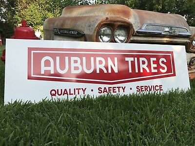 Antique Vintage Old Style Auburn Tires Sign 19x60