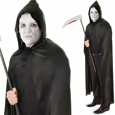 Adult Unisex Black Hooded Cloak Cape Robe Horror Halloween Fancy Dress Costume