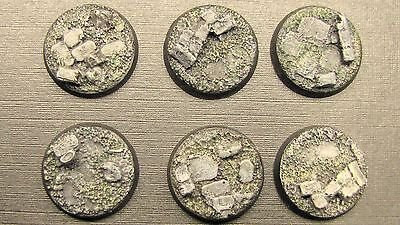 10 X  PAINTED 25mm Resin Bases Rubble Stone Scenery Bolt Action 40k Frostgrave