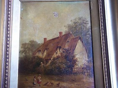Old Original Oil On Canvas Painting Cottage Scene Unclear If Signed