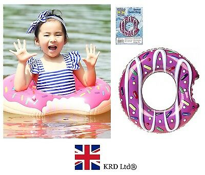 "24"" INFLATABLE DONUT SWIMMING RING Floater Beach Kids Pool Float Fun Gift New UK"