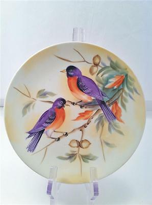 "LEFTON BLUEBIRDS COLLECTOR PLATE HANDPAINTED 8"" 1950'S sl5882"