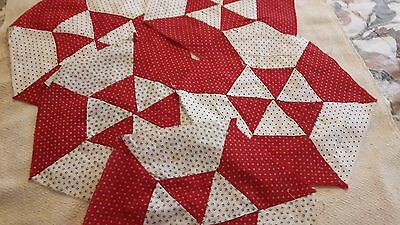 5 Antique Quilt Blocks Red and White Hexagon Calicos 12 inch