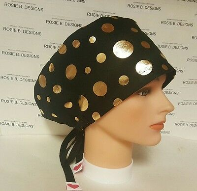 Gold  Dots On  Black /   Hat Pixie Scrub / Medical / Cap/surgical