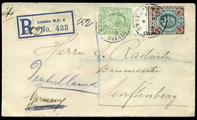 1907 Registered KEVII SG236a and SG218 4½d London to Sassenberg