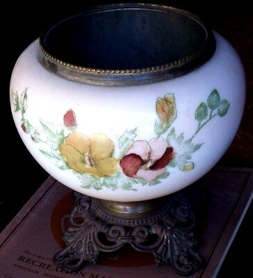"""Antique Phoenix Oil Lamp Base Only - Hand Painted Glass Base 5 1/16"""" Openingral"""