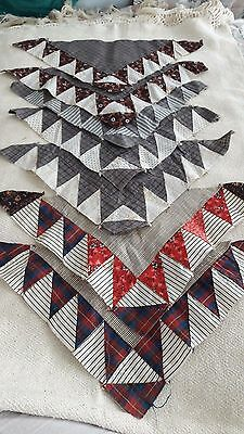 7 Antique Quilt Blocks Triangles Browns Hand Sewn Older Fabrics