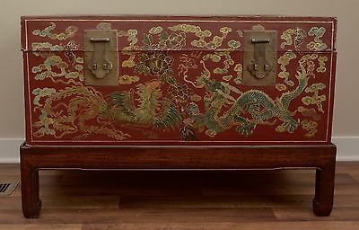 Antique Red Leather Asian Trunk Large Stamped Gilt Gold Chinese Dragon w/ Stand