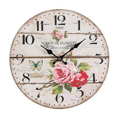 """NOSTALGIC FLOWERS WALL CLOCK """"ROSE"""" 