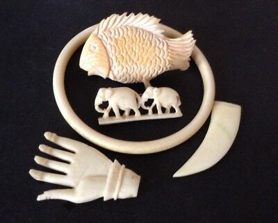 Antique Asian Hand Carved Bovine Bone (5 mixed Items.)