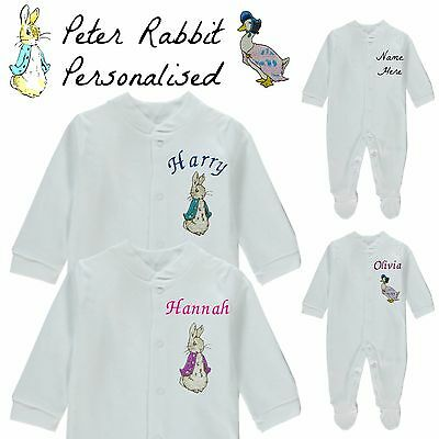Peter Rabbit Personalised Baby Grow Vest Bodysuit Embroidered Name Boy Girl Gift