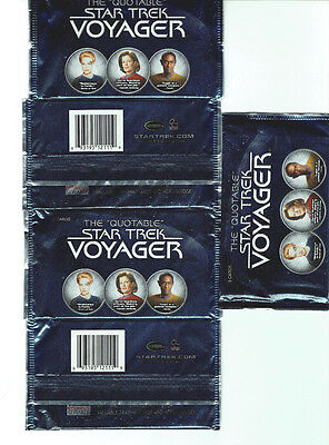 The Quotable Star Trek Voyager Factory Sealed Hobby Lot of 5 Packs  - 25 Cards
