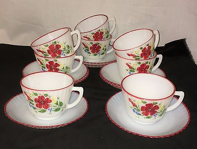 8 Petalware Monax* Red Trim Floral*mountain Flower*cups & Saucers*