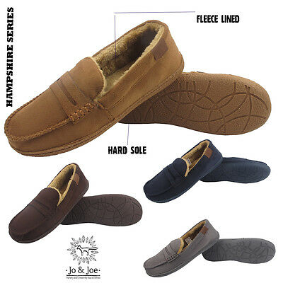Mens Fur Lined Mocassin Hard Sole Warm Cosy Winter Slippers Sizes 7 8 9 10 11 12