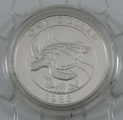Bermuda 1986 GEM BU $1 One Dollar Commemorative Crown Coin Green Turtle CB075