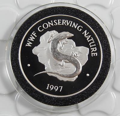 Bermuda 1997 Silver GEM PROOF $1 Dollar Coin WWF Conserving Nature Skink C0403