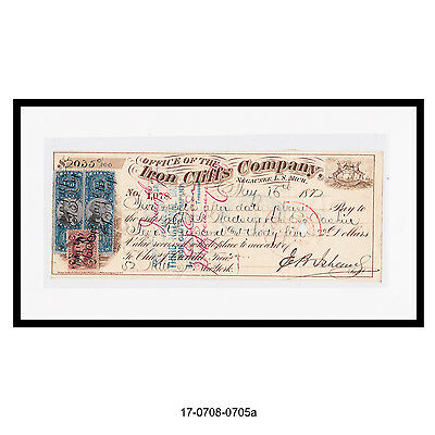 1872 Iron Cliffs Company Bank Check (5 Revenue Stamps)